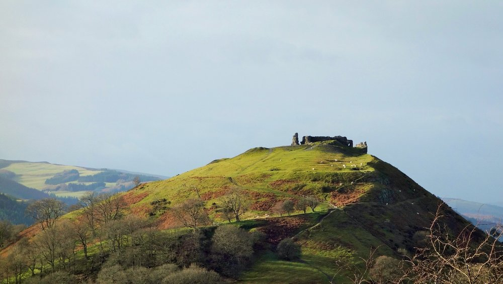Dinas Bran Discovery - an exhilarating clamber to the top of this fascinating hill fort where various medieval Welsh princes have presided, discover more, exercise your imagination, complete a photographic or other form of artistic assignment to investigate the textures and shapes of the ruins.