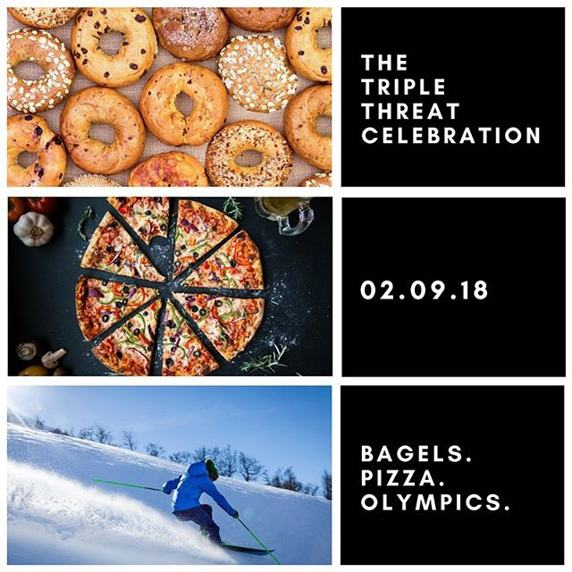 This crazy snow and these three things are the perfect match. Hope you are all staying safe and warm!! ❄️ . . . . . #winterolympics2018 #nationalpizzaday #nationalbagelday #chicago #snowday #friyay #winter #hibernate #trending #blizzard
