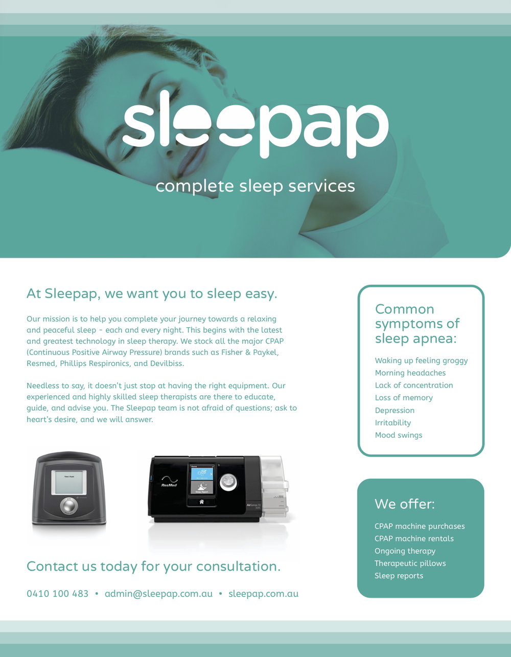 Click here to view the magazine ad I wrote for Sleepap.