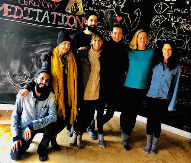 Garun, Tayler, Sebastian, Sam, Caroline, Mimi and Sara grace The Wall of Wisdom.