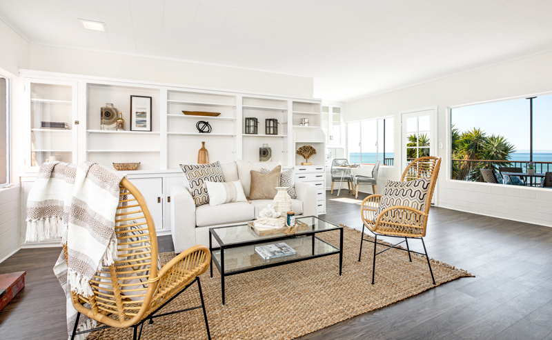 Photo by  Elevated Horizon ; home staging living room Santa Barbara