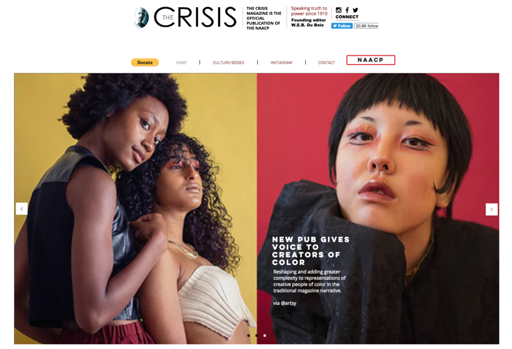 NAACP's  The Crisis Magazine  repost of  Artsy  article on their homepage, January 2018