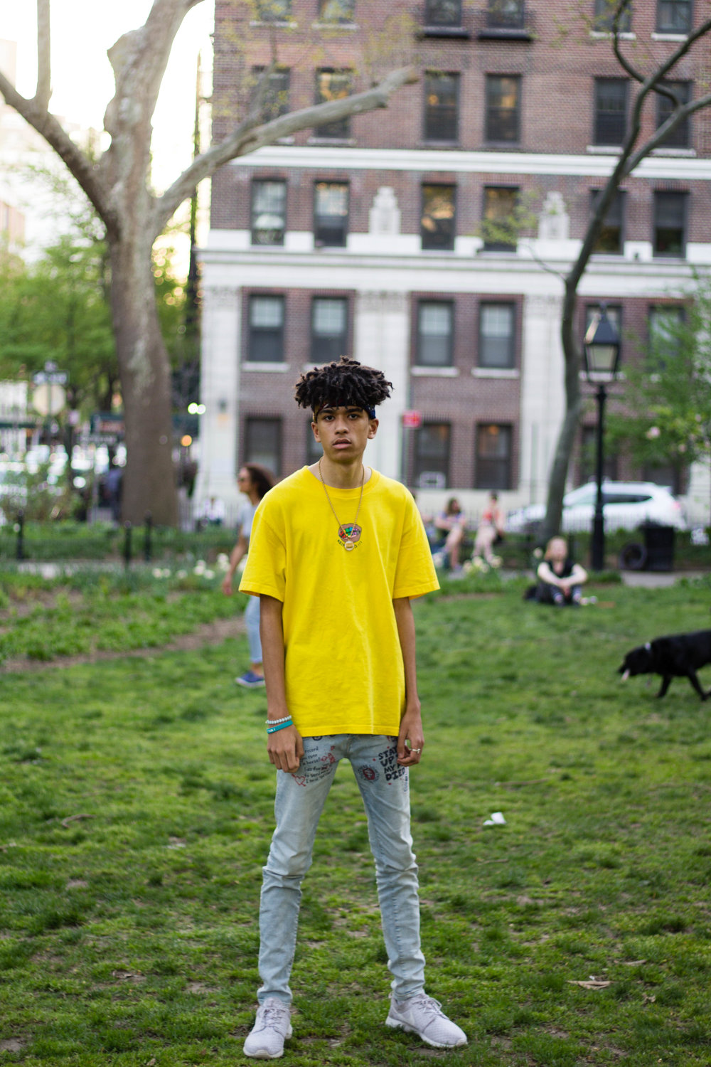 A  rapper  and student at New York University who currently writes and produces his own music.