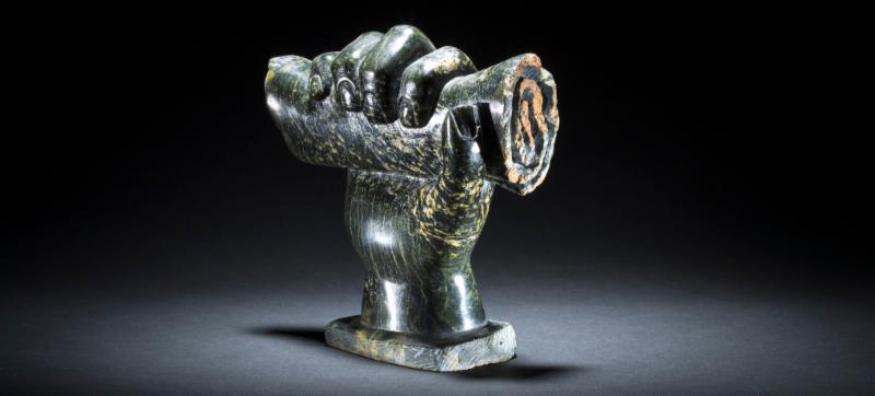 Image:  Hand with Contract , Oviloo Tunnillie, serpentine, 2002 (Cerny Inuit Collection)