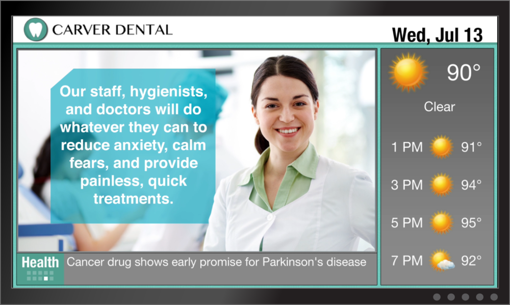 dental digital signage waiting room patient education