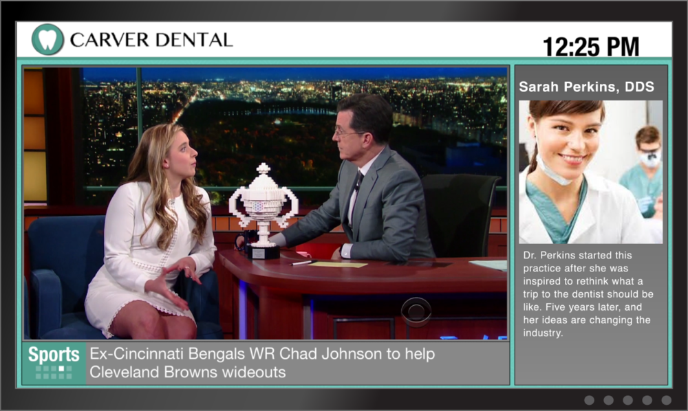 dental practice clinic digital signage patient entertainment tv