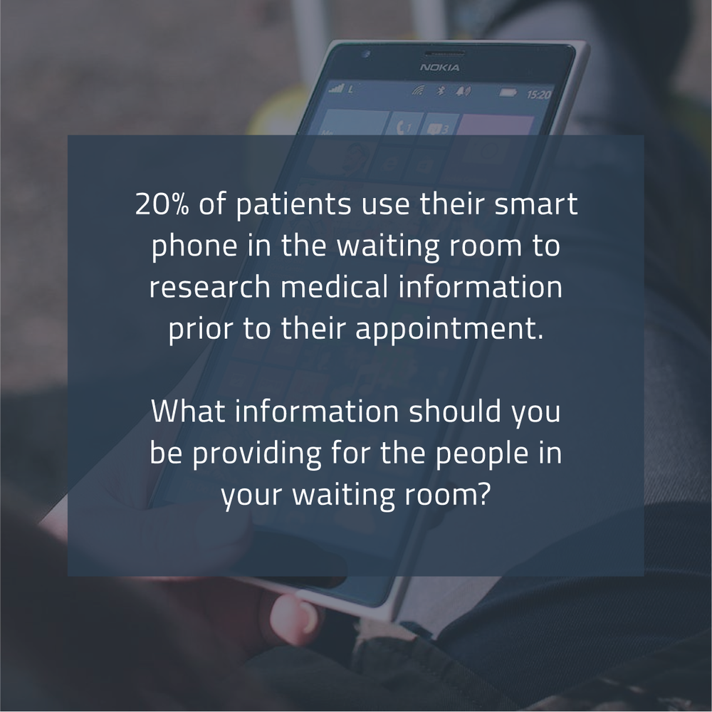 patients in the waiting room want information from the company they're visiting