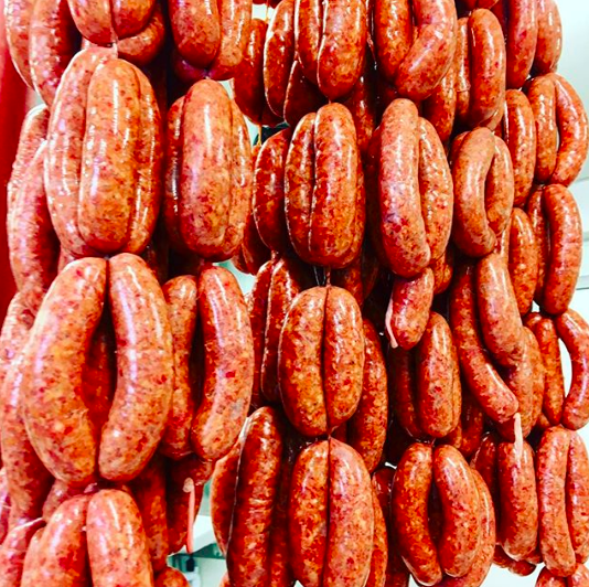 May 18, 2017 - Yesterday's haul of Bloody Mary sausage hanging and ready to be cut and packaged. Had some for dinner last night and they were really tasty - although maybe some Worcester sauce would be a good addition. I'd quite like to experiment with vodka in the sausage, as well as horseradish - although it can be pretty volatile to work with. Maybe cook them in a horseradish sauce. Mmmmm.