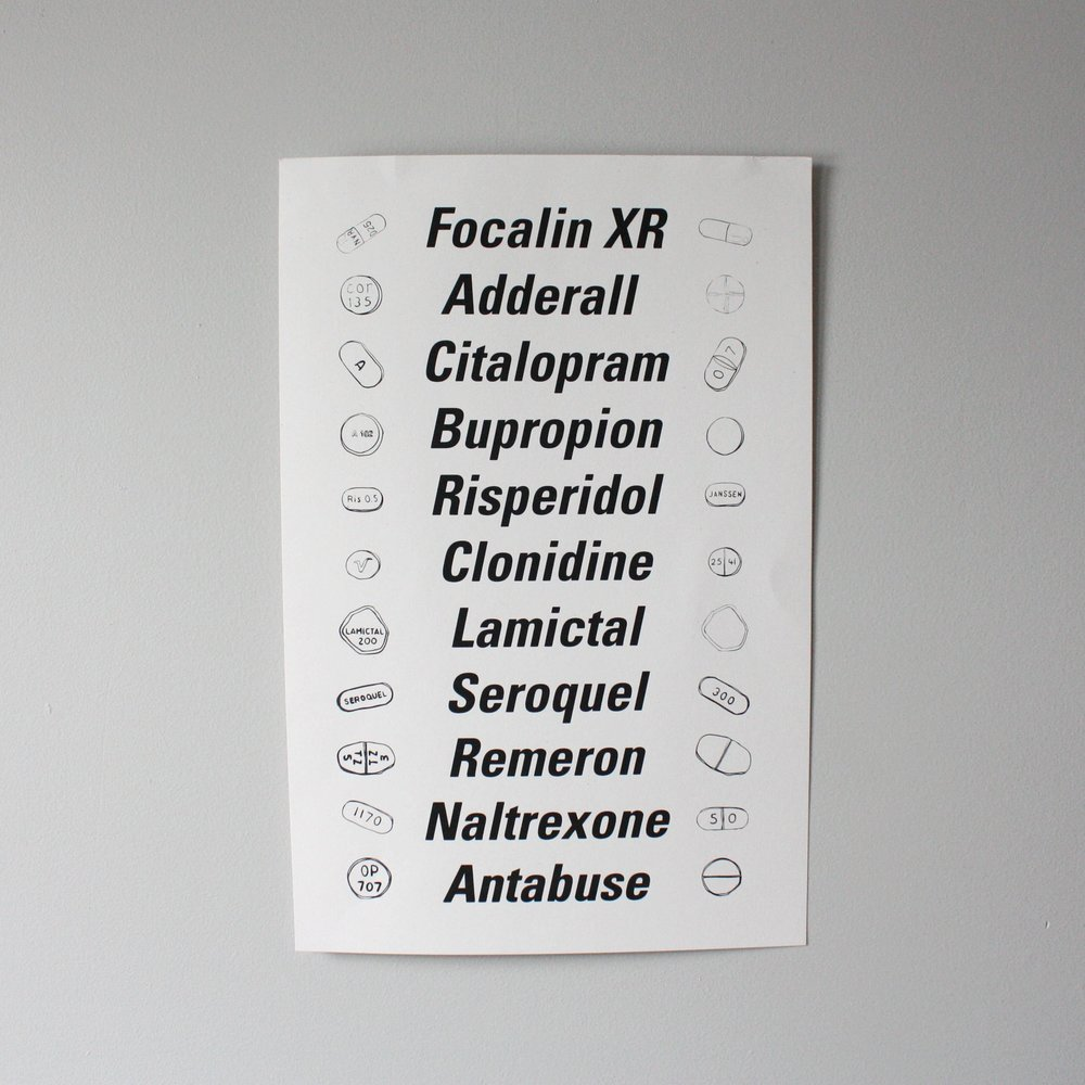 A 13x19 print on 100 pound French Paper card stock that displays the variety of medications I have been prescribed.   Hand Printed in Midtown Detroit at Ocelot Print Shop