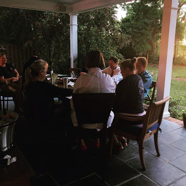 Sunset board meeting @carettaresearchproject planning our fall fundraiser. Thank you @cmgussler for hosting. Otters swimming in your creek were simply magical.