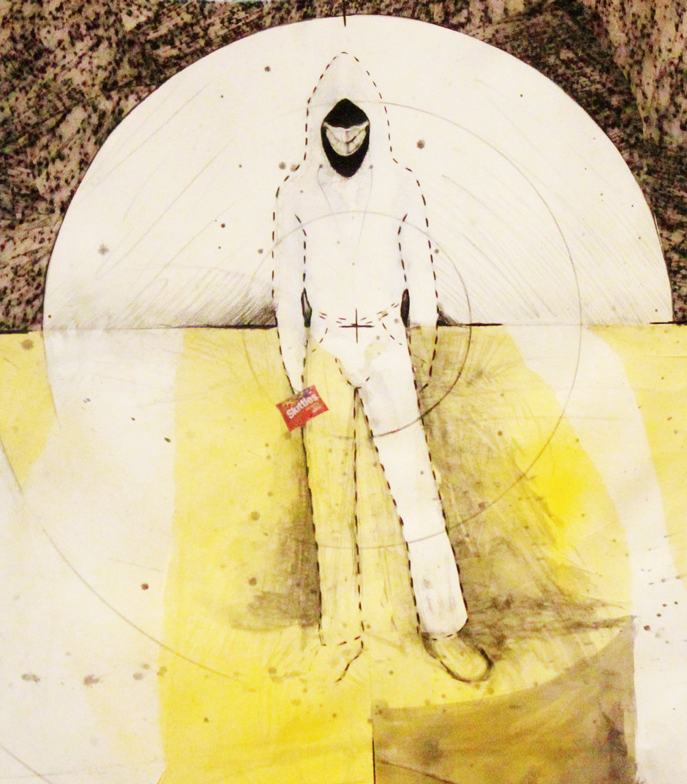 Damond Howard  <br>Untitled #4 (Stand Your Ground series) </br>2014 <br>Mixed Media on paper <br>22 x 30 inches</br>Retail value: $2500