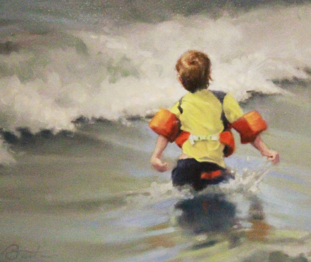 Todd Baxter <br>Brave Swimmer, <br>2014 <br>Oil on canvas <br>20 x 16 inches <br>Retail value: $1400