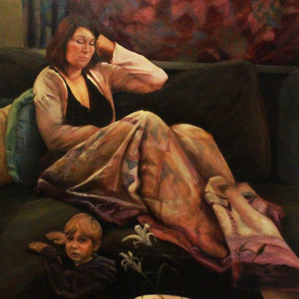 Cody Unkart <br>Stef and Reece, <br>2016 <br>Oil on canvas <br>48 x 60 inches <br>NFS