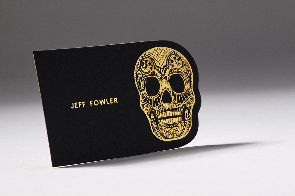 Black die cut business with card gold foil alpine creative group skull business card custom die cut reheart Gallery