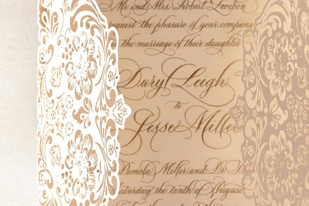 Formal Engraved Ivory Wedding Invitation with Hand Calligraphy and ...