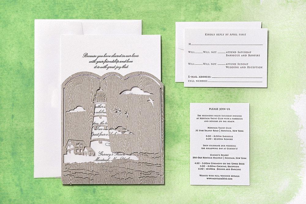 Montauk Themed Wedding Invitation With Laser Cut Lighthouse Pocket