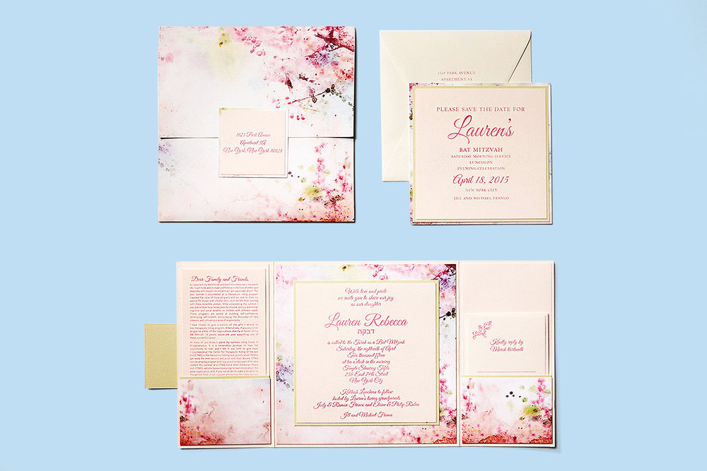 pastel watercolor and letterpress bat mitzvah invitation alpine