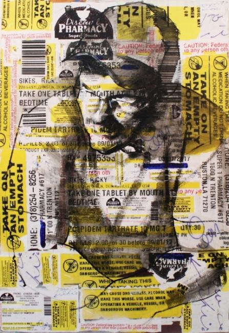 """Prescription Self Portrait"" ,2017,  Mixed Media on panel"