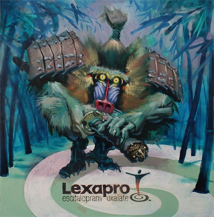 """""""Lexapro Samurai""""    2018   ,   Mixed Media on panel"""