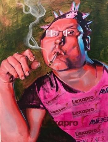 """Self Portrait""  2017.  Mixed Media on panel"