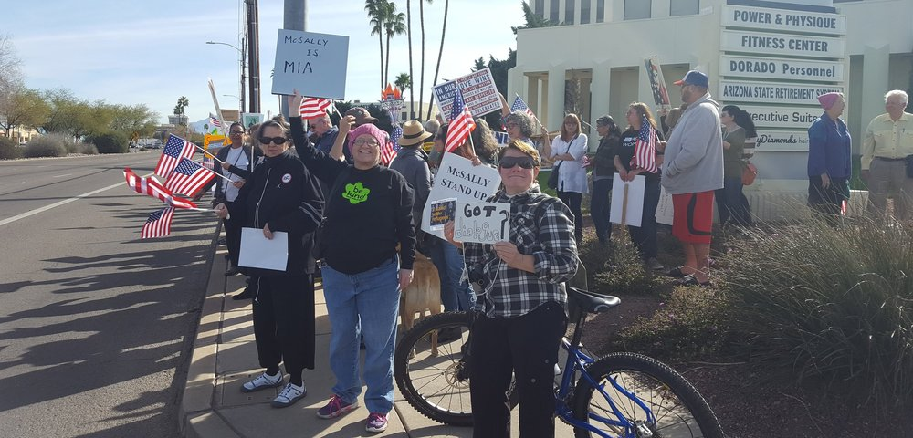 Protesters outside of McSally's office on February 7, 2017.