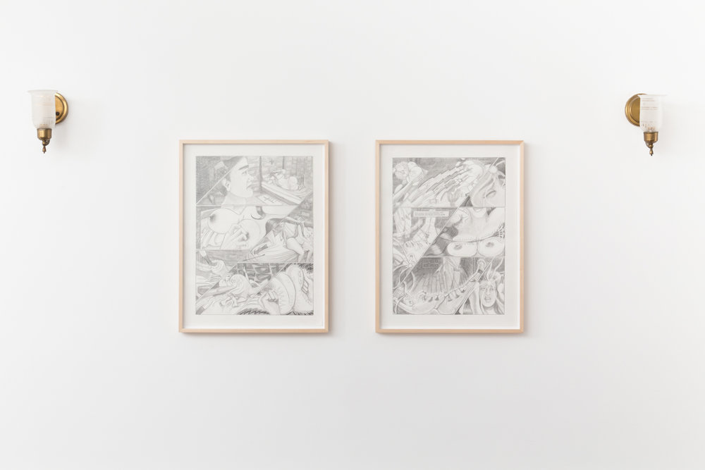 Vanessa Conte, Evelyn's Awakening #1 & #2, 2017. Pencil on paper. 24 in. x 18 in.