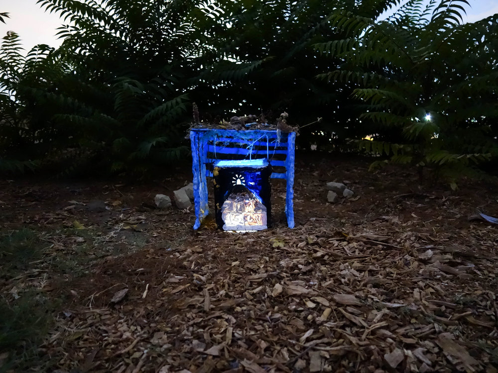 Dog Stops Dead In Its Tracks To Look At Dog, Dead In Its Tracks, 2017. Blue ceramic cage, oil on canvas, fixings. Dimensions variable.