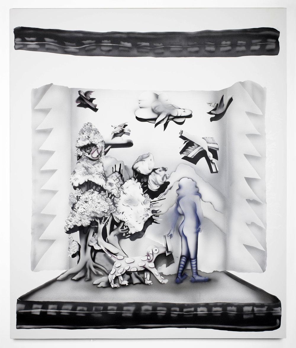 Kara Joslyn,   subj: Re: The Explusion:    body: HAHAHA    XO    Hel,   2019, Acrylic and polymer car paint on canvas. 60 in. x 72 in.