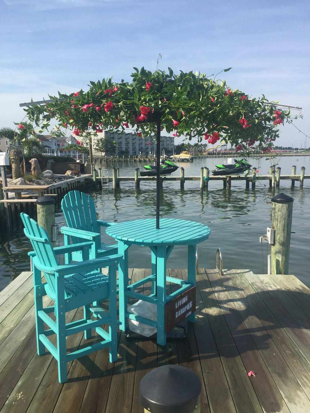 Seaside on the dock. The Living Umbrella fits in the hole of your favorite table.