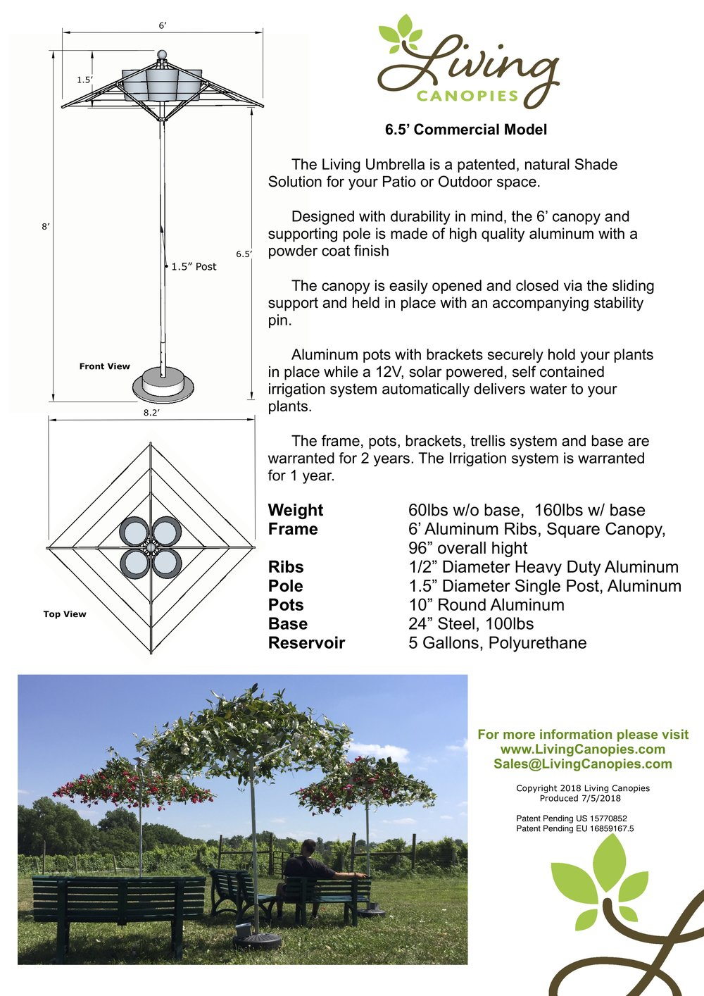 6.5' Commercial Model - Specification Sheet