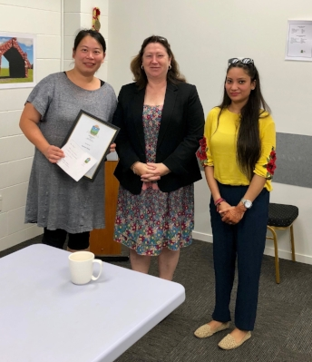 FREEDOM Learner Inspired by Work-Integrated Project:  Business owner of Fromage Coffee Café Serena Wang with FREEDOM President Mrs Stevenson and Himani Sharma (learner).