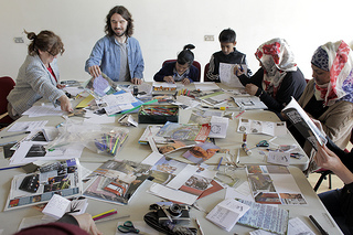 Running a workshop on creating zines, Diffusion Photography Festival, 2013