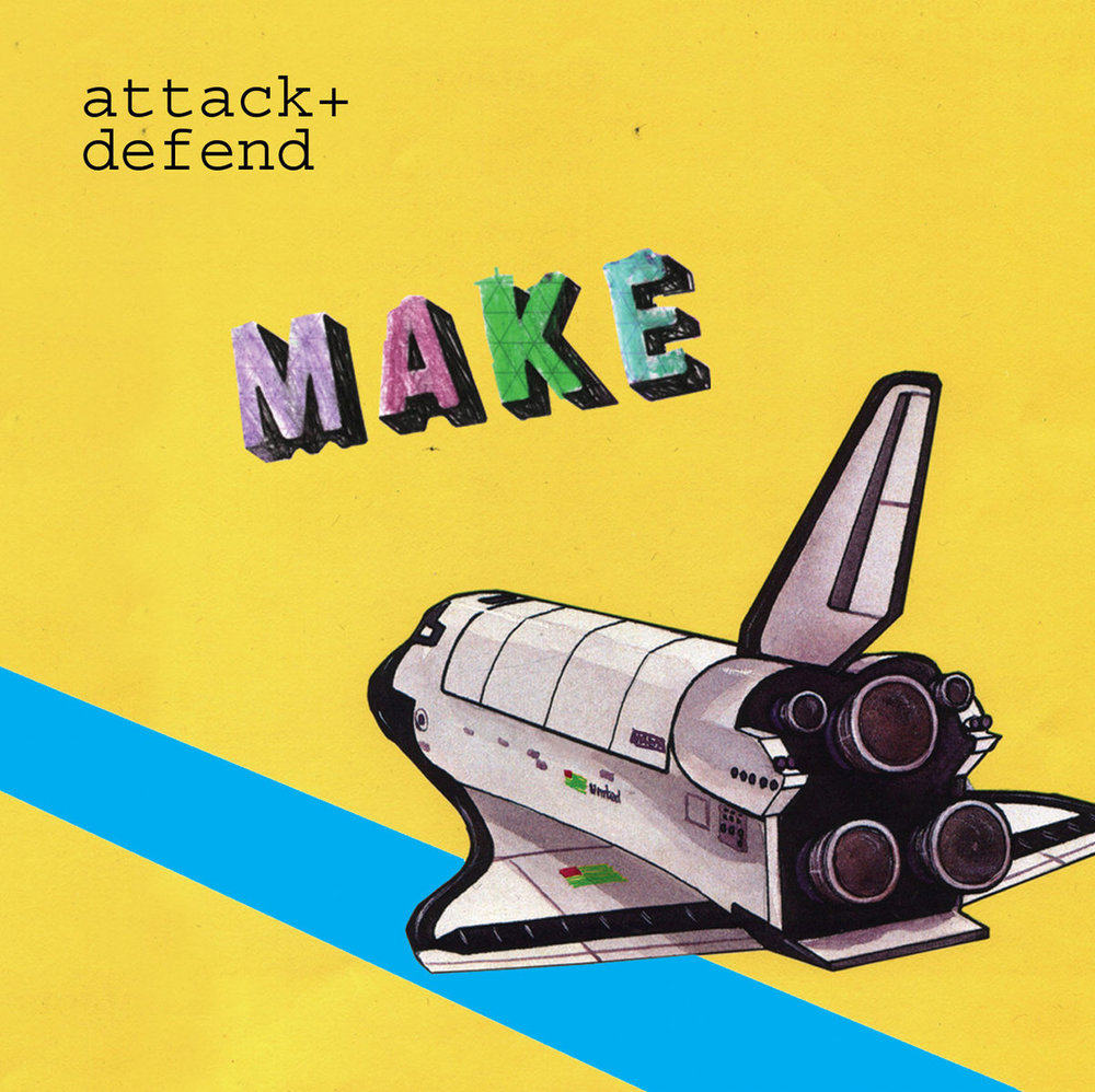 "Attack + Defend - Make    4/5  ""Make is an album length exploration of possibilities that has little regard for trendy styles, relying instead on spontaneity and a hefty handful of surrealism ""  Subba Cultcha    ""...  a left field, hyperactive jumble of skewed beats, rambling vocals and sinister keyboards  "" Kruger"