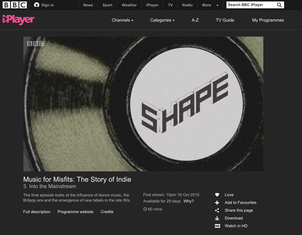 Feature on Shape Records on BBC4 documentary 'Music For Misfits' in 2015: