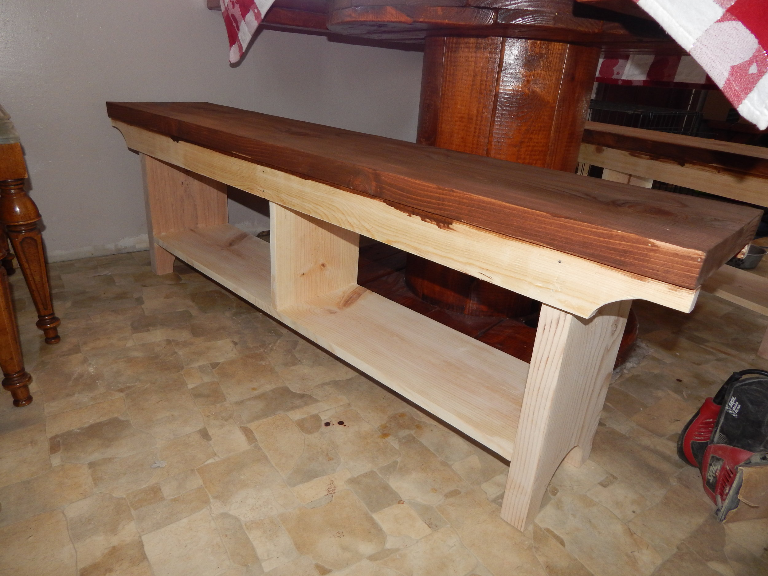 DIY Bench stained seat