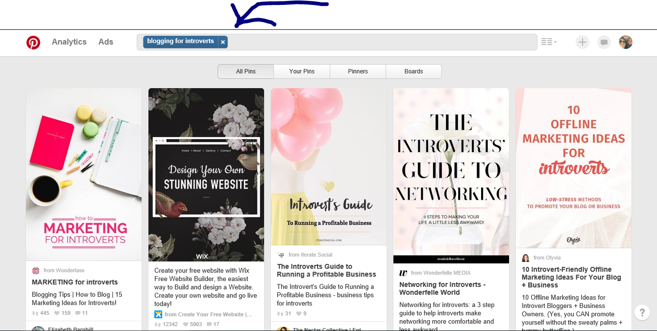 pinterest - blogging for introverts