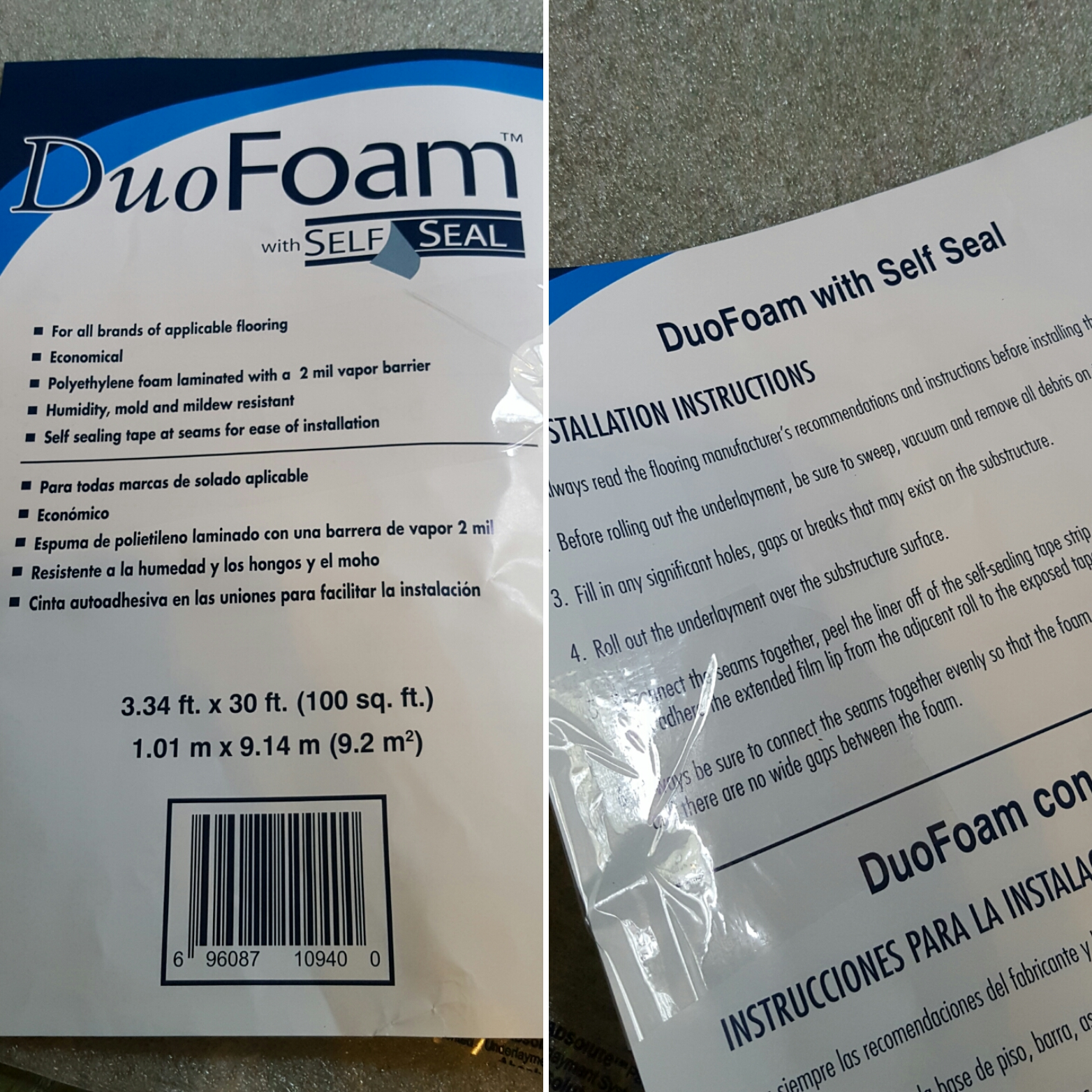 Simple diy underlayment, DuoFoam with Self Seal