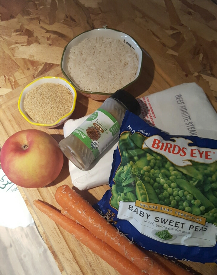 Gathered ingredients for Scrappie Dog Food