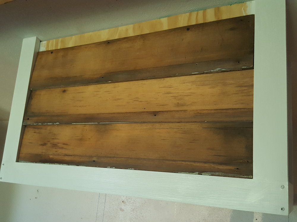 I quickly got the wood siding up on the range hood cover.
