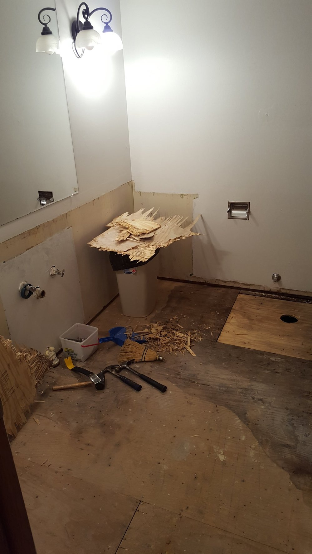 diy bathroom remodel - end of day 1