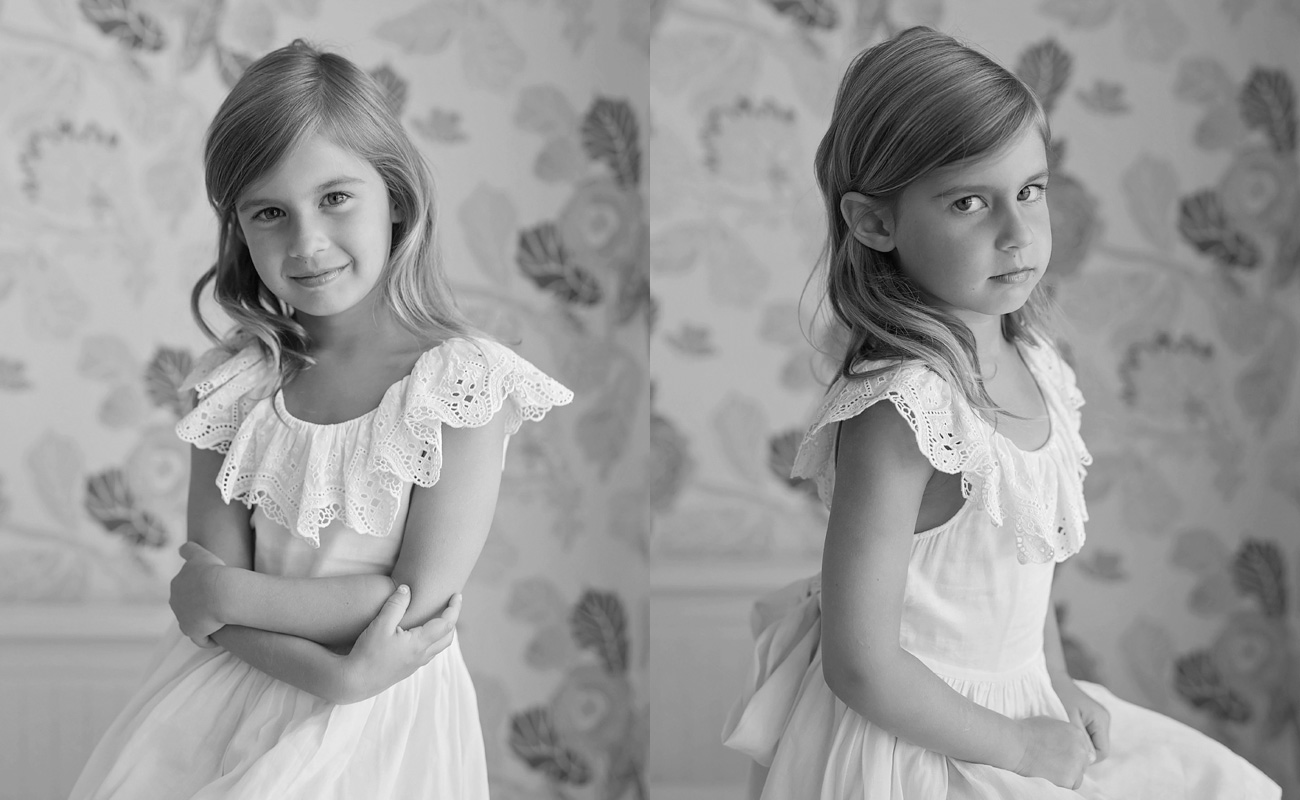 black and white portrait of a five year old