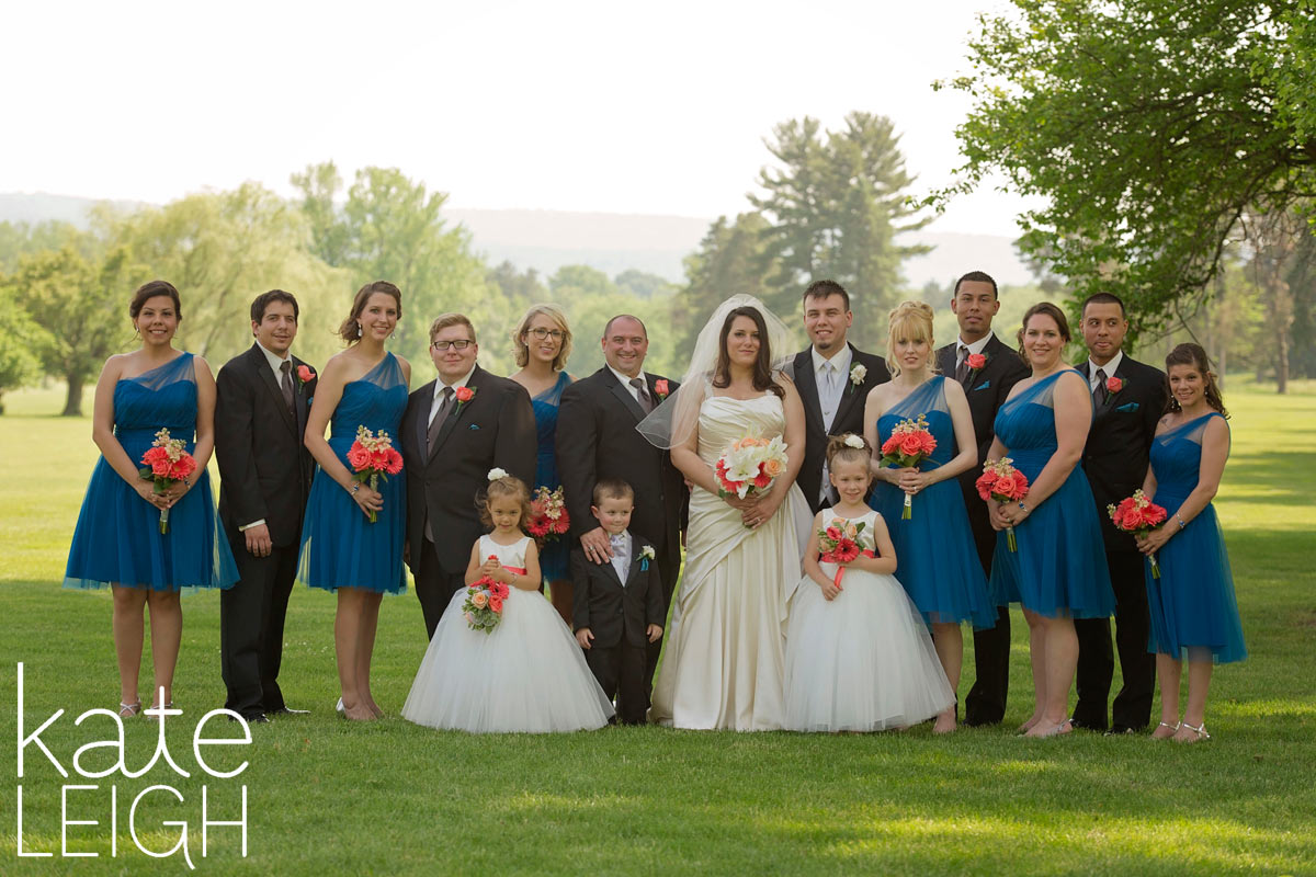 Bridal party with blue dresses