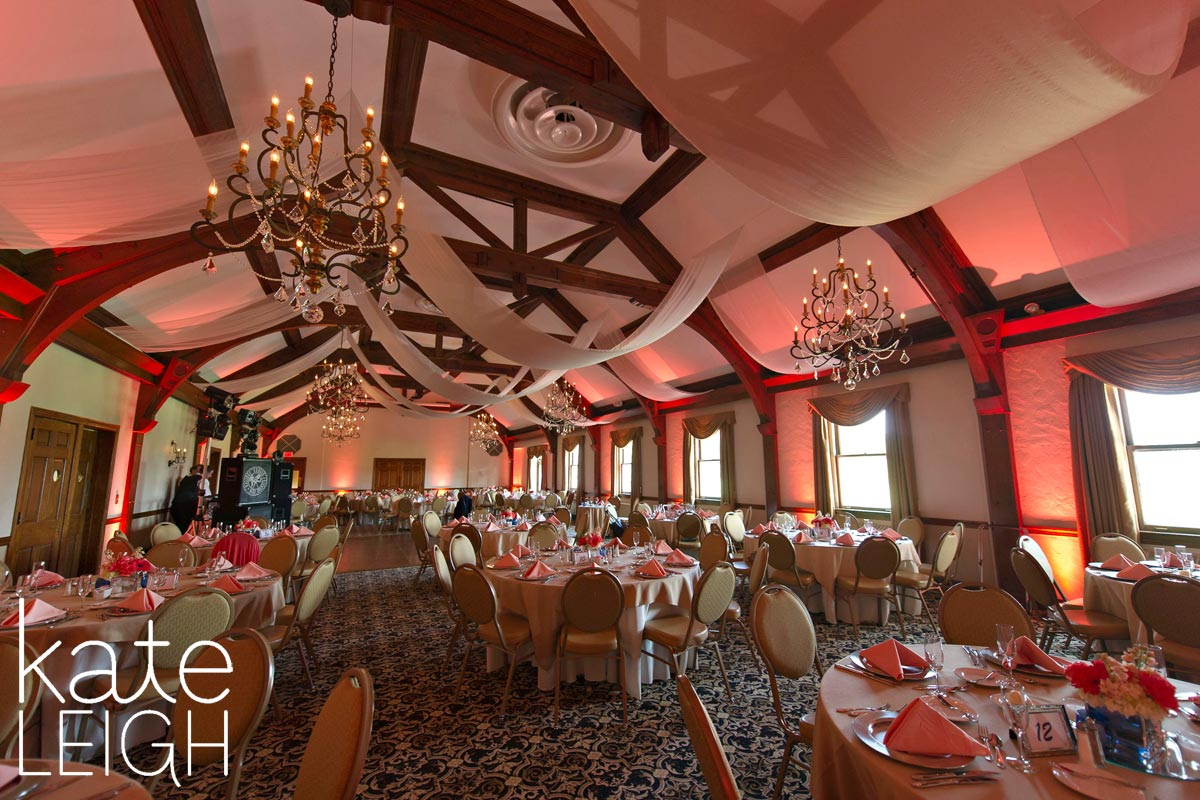 Silver Creek country club set up for a reception with coral accents
