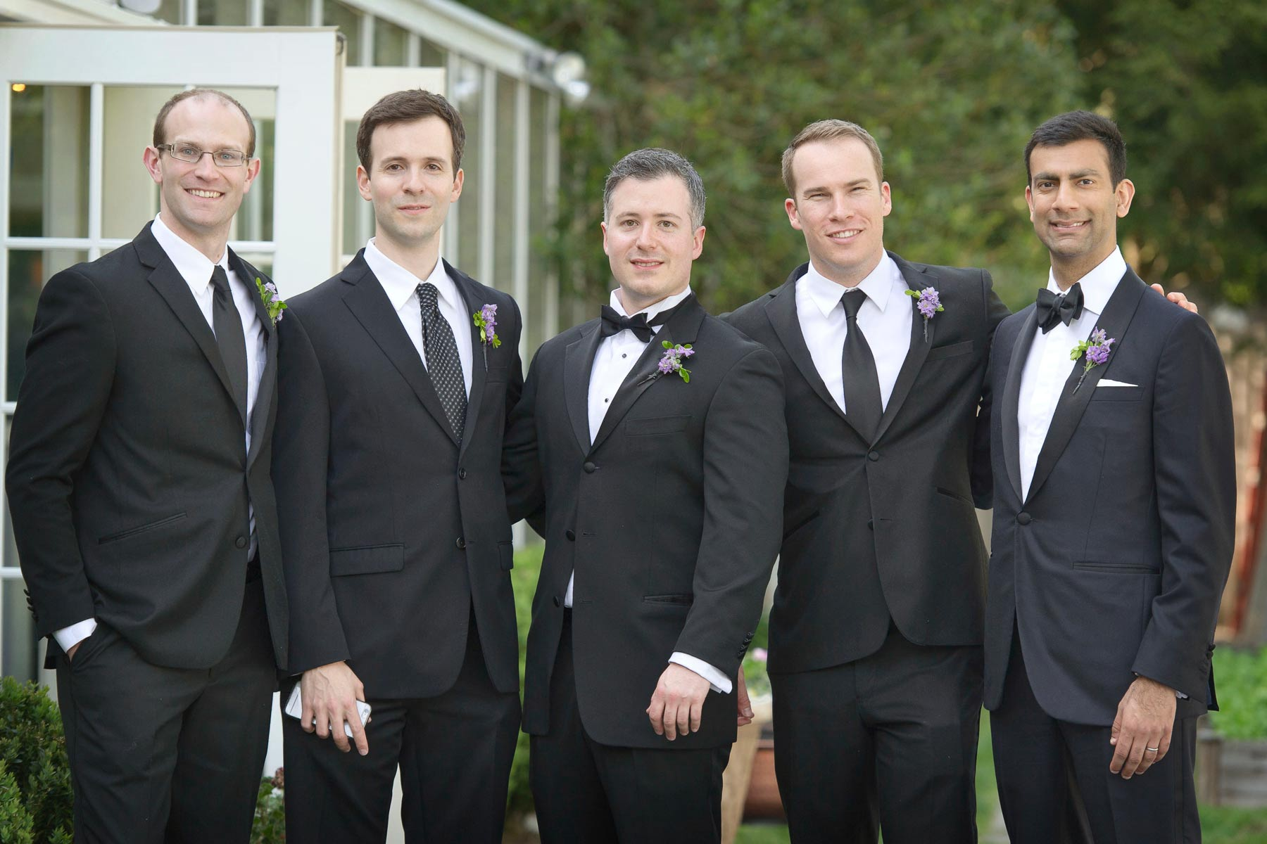 groom and groomsmen outside crabtree's kittle house