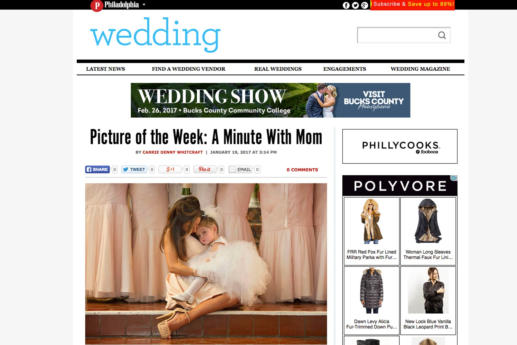 Screen shot of Philadelphia Wedding magazine blog image of the week of a flower girl sitting with her mother