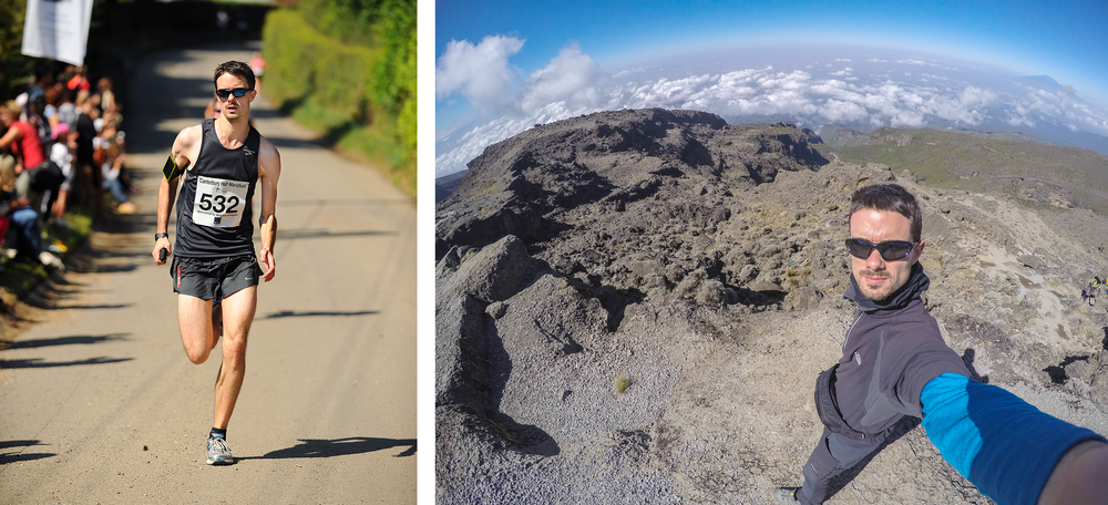 Running a half Marathon and a Go-Pro shot on the ascent of Mt. Kilimanjaro, Tanzania