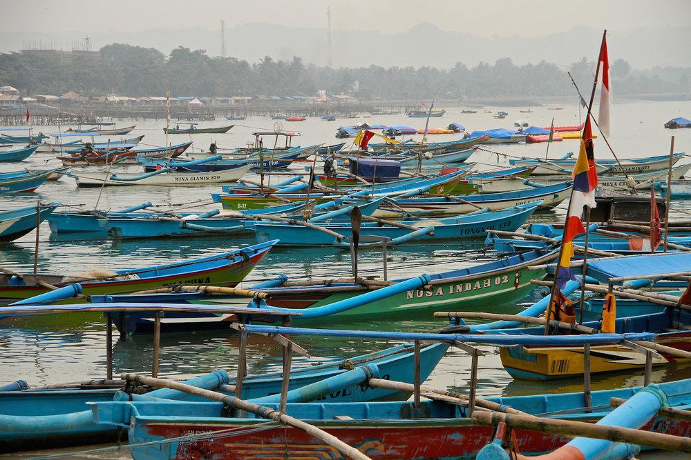 Fishing boats of Pangandaran.