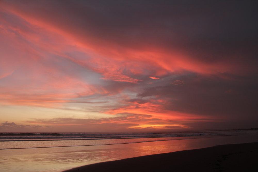 Sundown on the beach at Pangandaran.