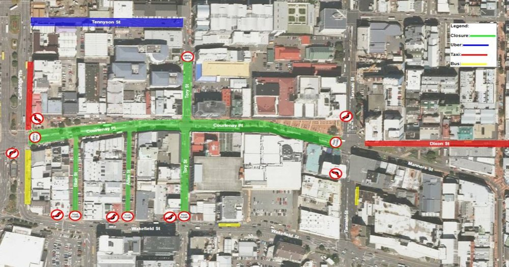 Courtenay Place road closures - Sat 1 July to Sunday 2 July