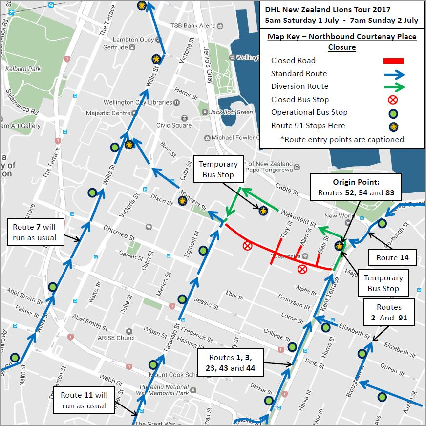 Northbound bus routes - Sat 1 July to Sunday 2 July